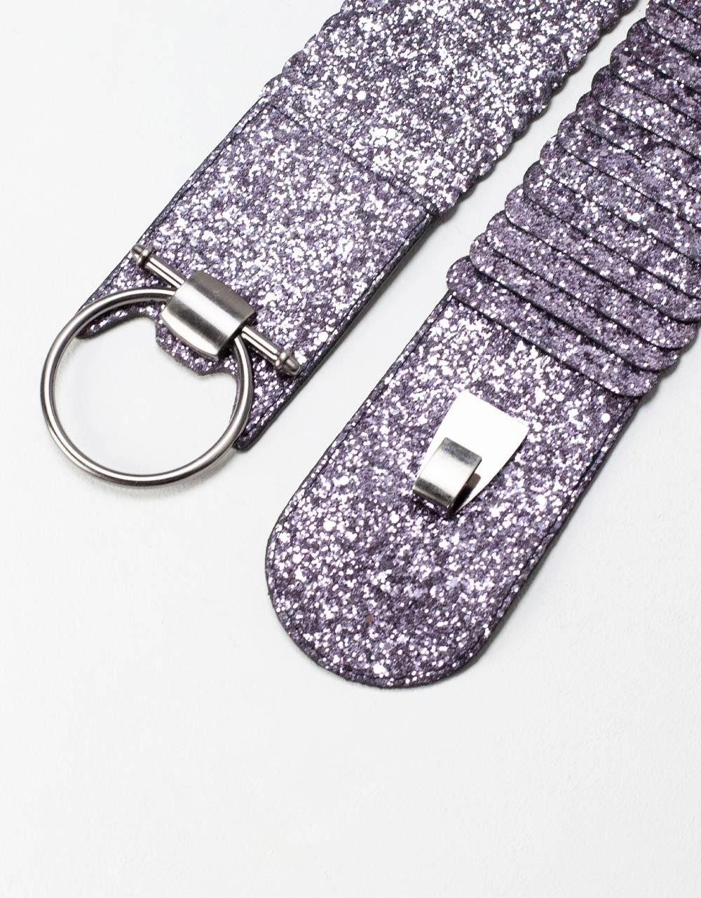 Εικόνα από Γυναικείες ζώνες ελαστικές με glitter Μωβ