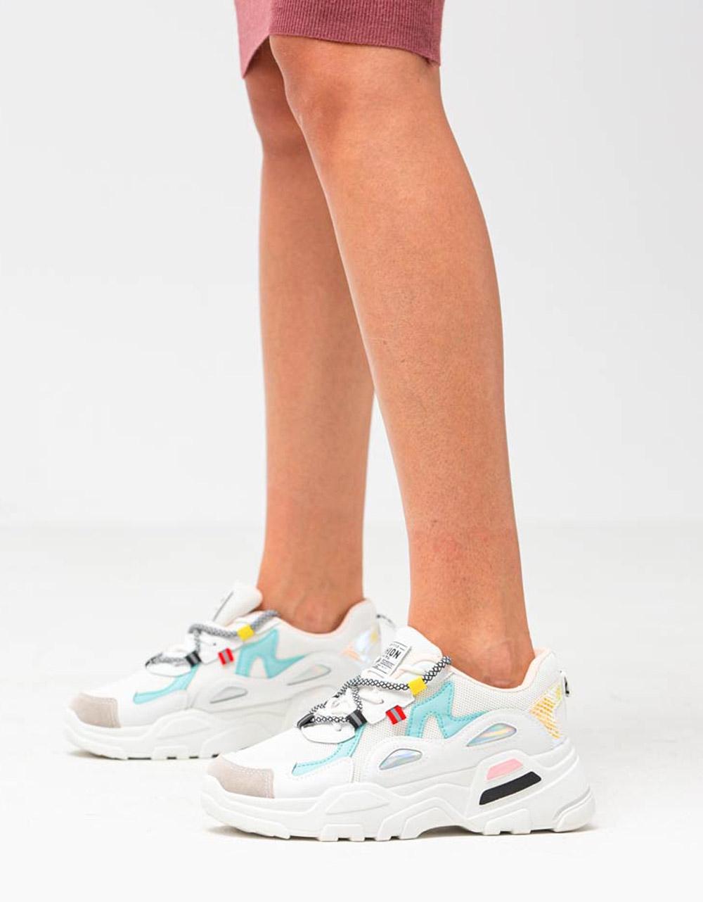 Εικόνα από Γυναικεία sneakers με δίχρωμες λεπτομέρειες Λευκό/Σιέλ