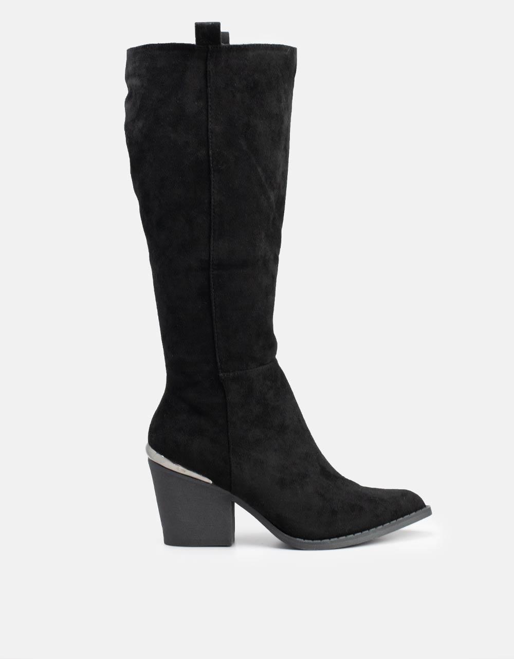Εικόνα από Γυναικείες μπότες Suede με μεταλλική λεπτομέρεια Μαύρο
