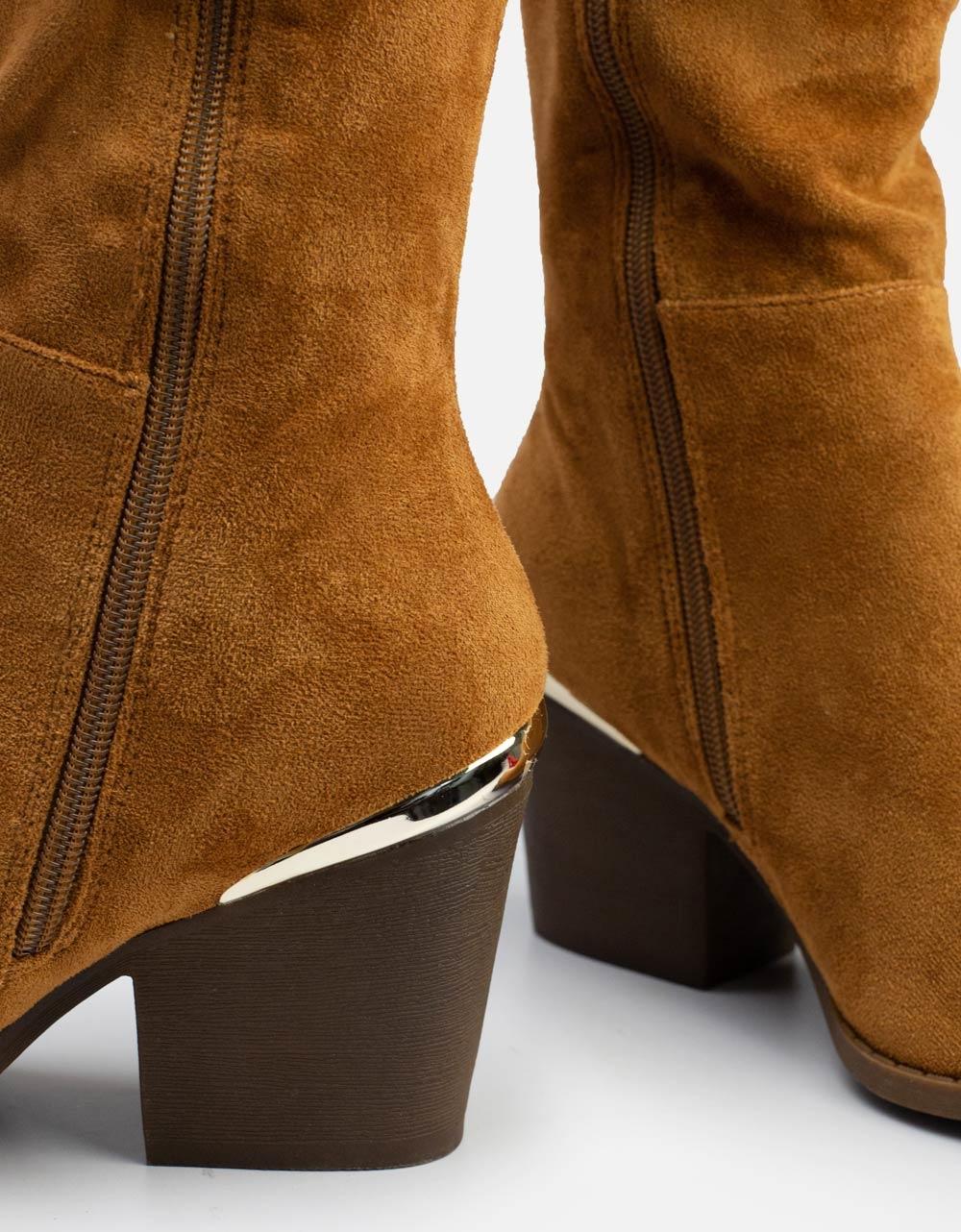 Εικόνα από Γυναικείες μπότες Suede με μεταλλική λεπτομέρεια Ταμπά
