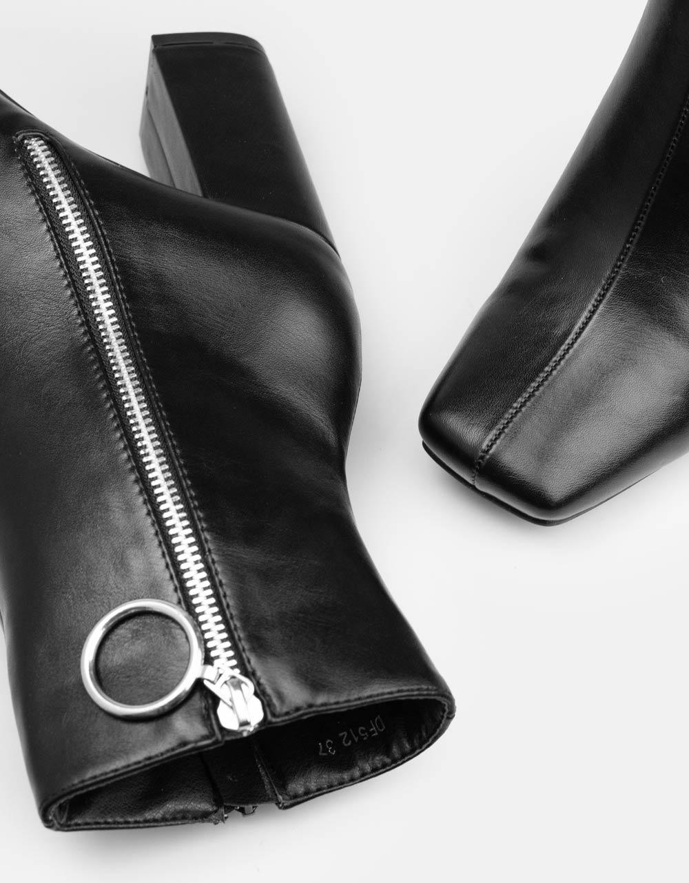 Εικόνα από Γυναικεία μποτάκια με τετράγωνη μύτη Μαύρο