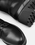 Εικόνα από Γυναικεία μποτάκια με τρακτερωτή σόλα μονόχρωμα Μαύρο