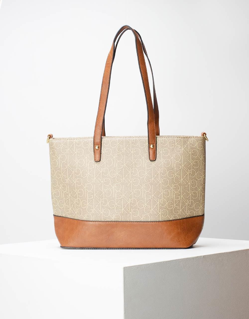 Εικόνα από Γυναικεία τσάντα ώμου με σχέδιο Μπεζ