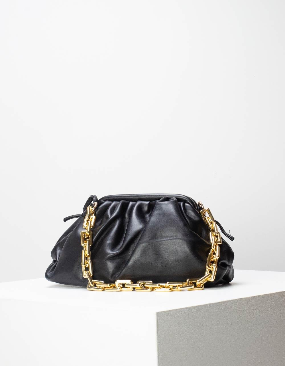 Εικόνα από Γυναικεία τσάντα ώμου & χιαστί μονόχρωμη με σούρες Μαύρο