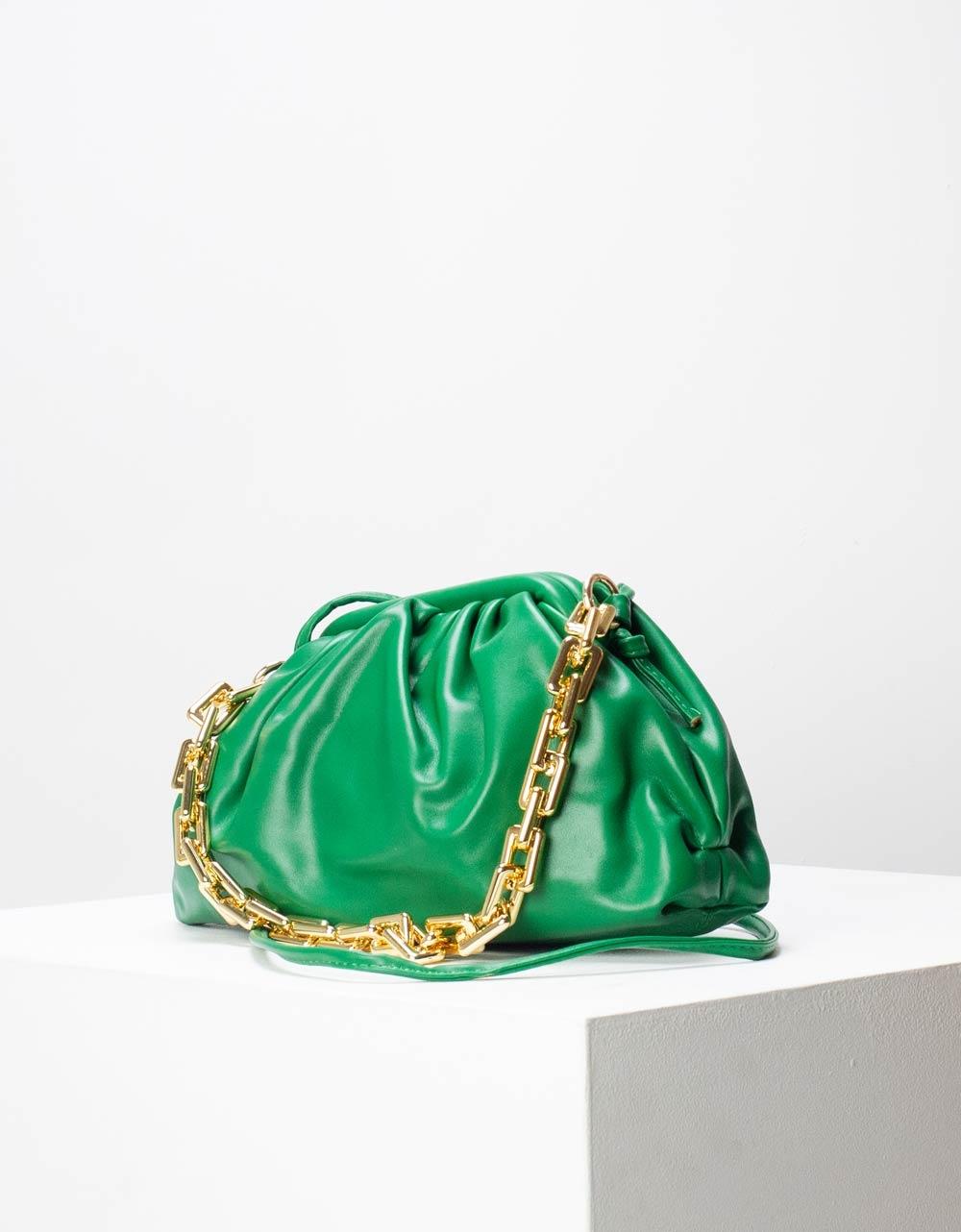 Εικόνα από Γυναικεία τσάντα ώμου & χιαστί μονόχρωμη με σούρες Πράσινο