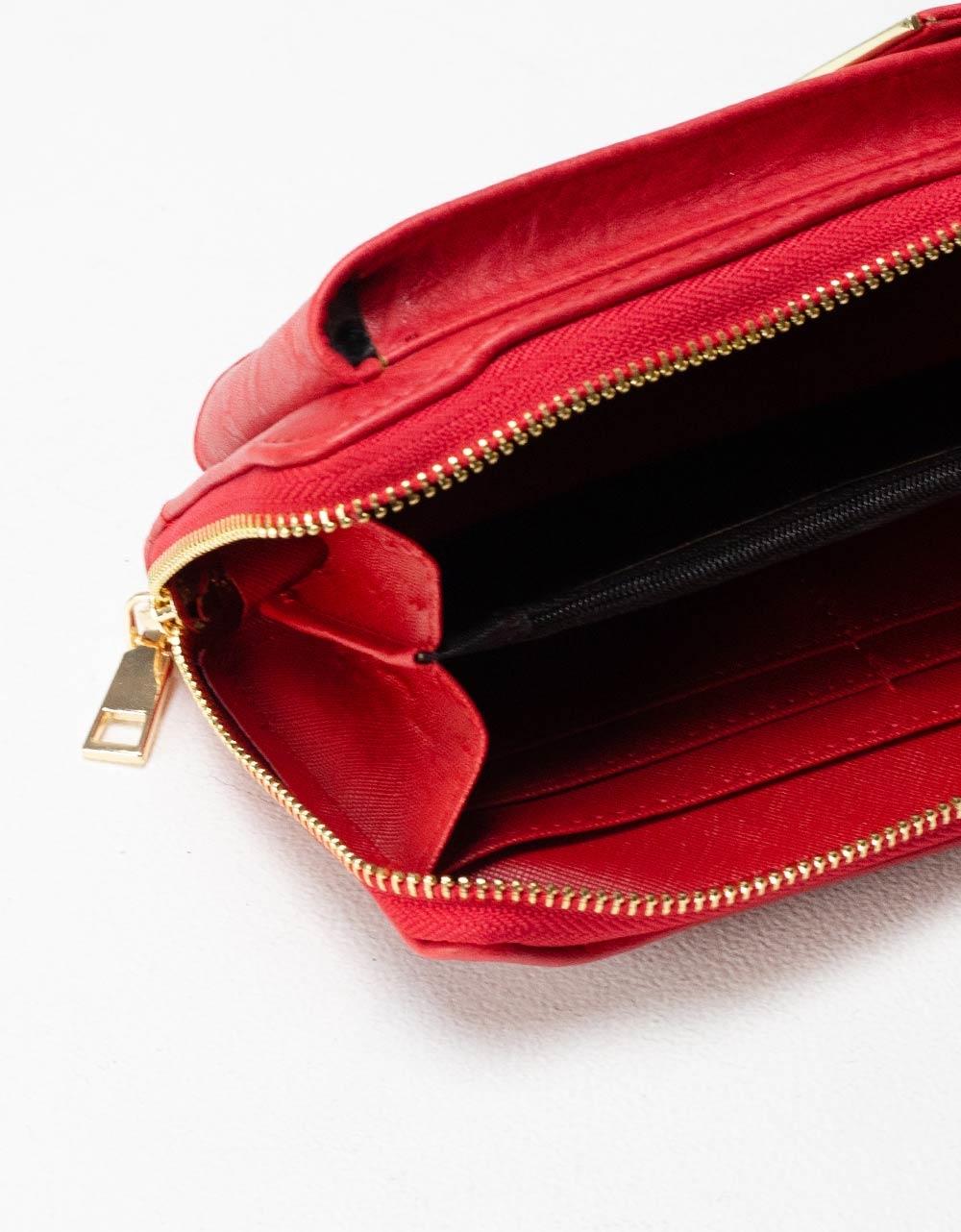 Εικόνα από Γυναικεία πορτοφόλια με εξωτερική θήκη κινητού Κόκκινο