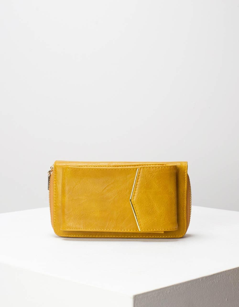 Εικόνα από Γυναικεία πορτοφόλια με εξωτερική θήκη κινητού Κίτρινο