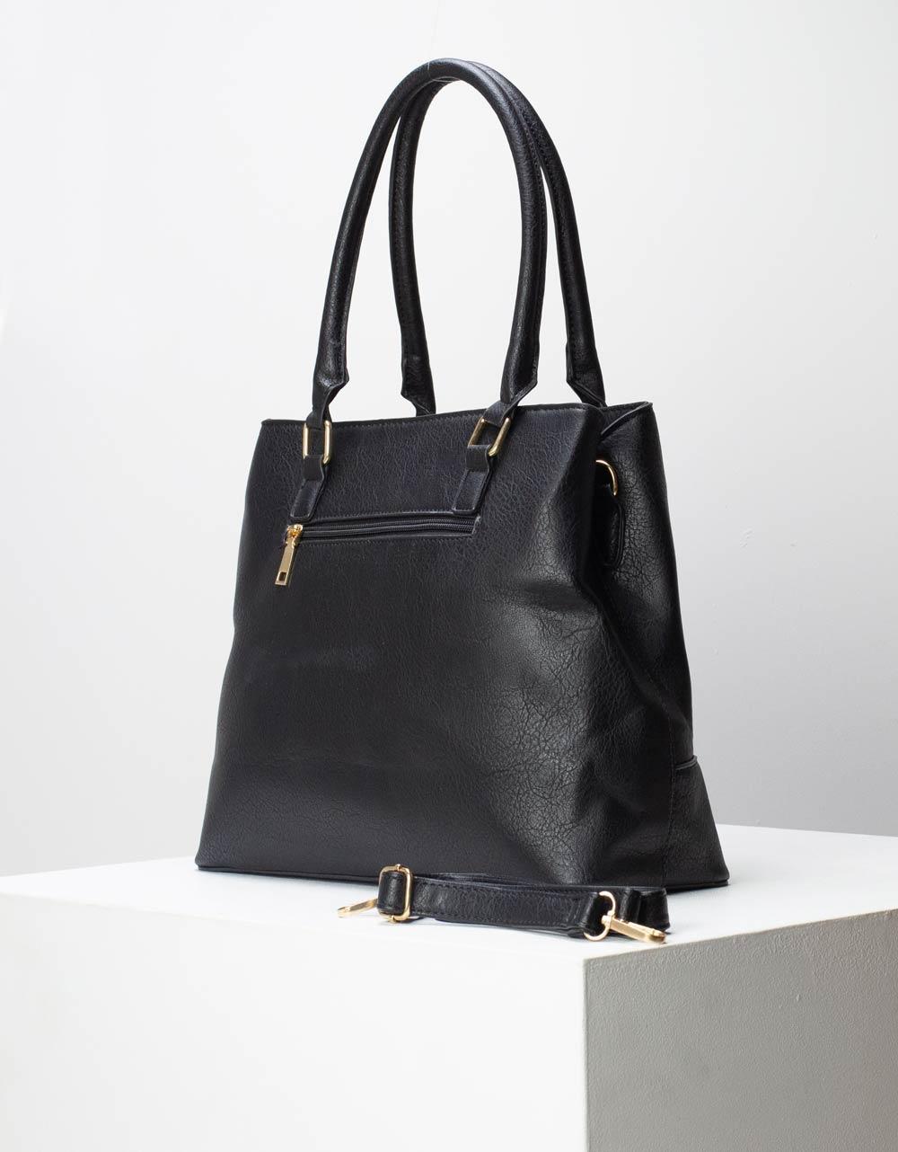 Εικόνα από Γυναικεία τσάντα χειρός μονόχρωμη με μεταλλικό διακοσμητικό Μαύρο
