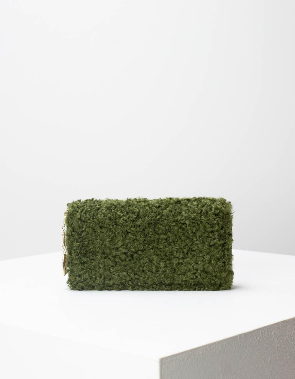 Εικόνα από Γυναικεία πορτοφόλια με γουνάκι Πράσινο