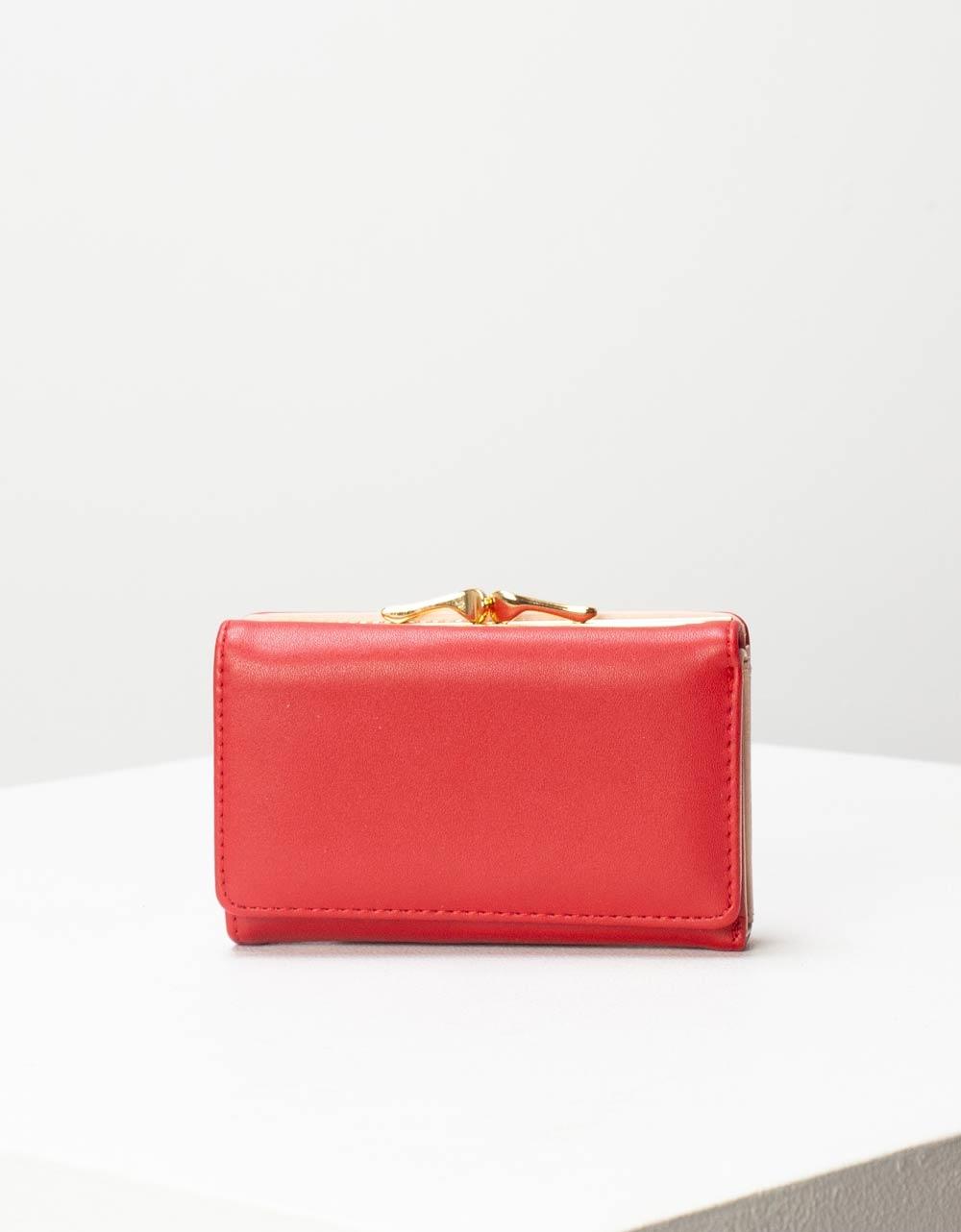 Εικόνα από Γυναικεία πορτοφόλια με μεταλλικό διακοσμητικό Κόκκινο