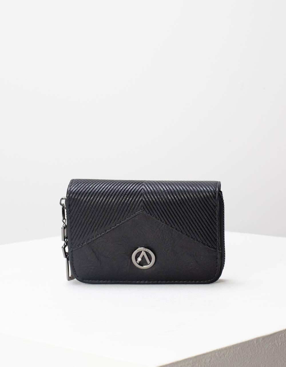 Εικόνα από Γυναικεία πορτοφόλια με κλίπ και θήκη με φερμουάρ Μαύρο