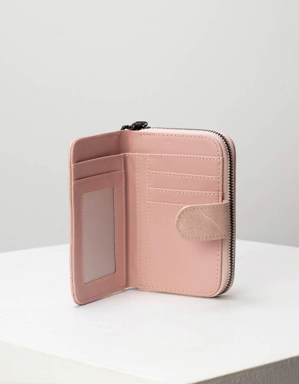 Εικόνα από Γυναικεία πορτοφόλια με κλίπ και θήκη με φερμουάρ Ροζ