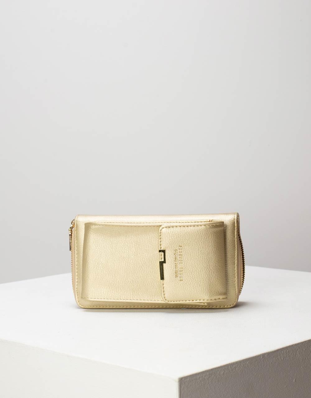 Εικόνα από Γυναικεία πορτοφόλια με εξωτερική θήκη κινητού Χρυσό