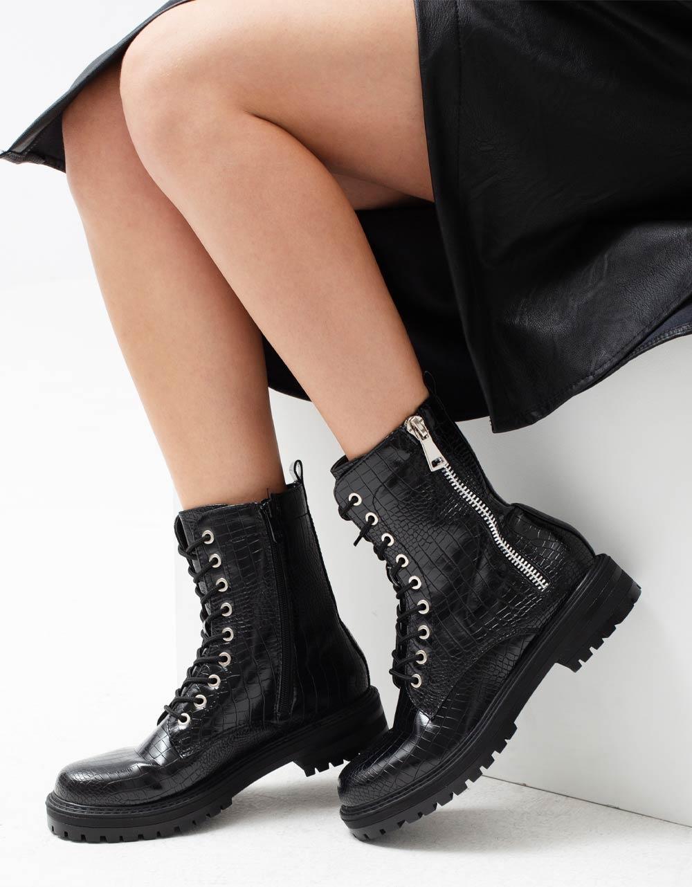 Εικόνα από Γυναικεία μποτάκια με κροκό σχέδιο Μαύρο