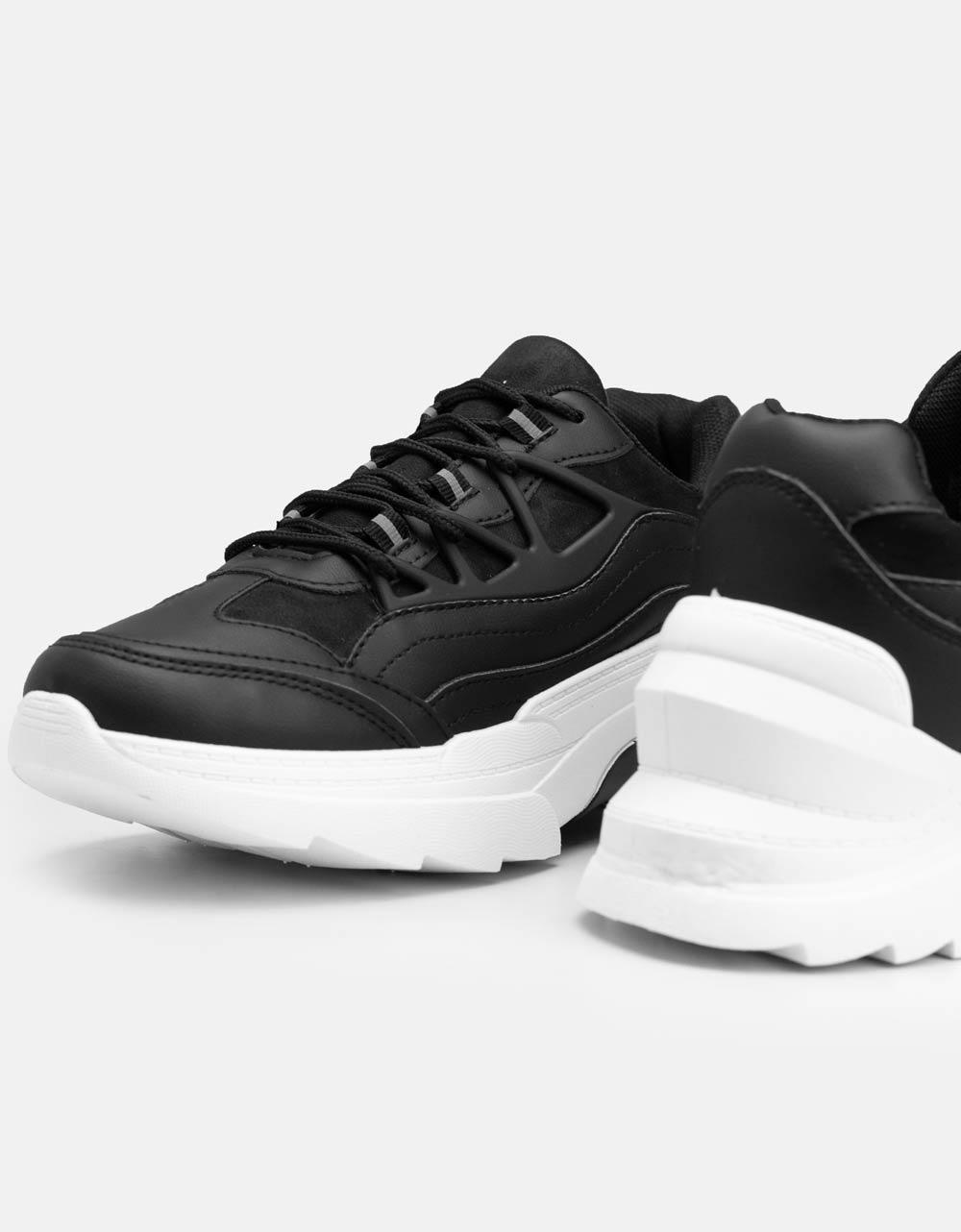 Εικόνα από Γυναικεία sneaker με τρακτερωτή σόλα Μαύρο