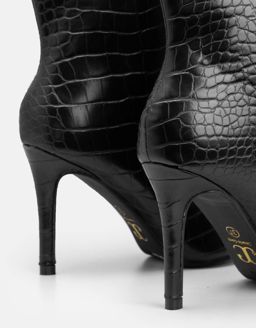 Εικόνα από Γυναικεία μποτάκια κροκό με λεπτό τακούνι Μαύρο