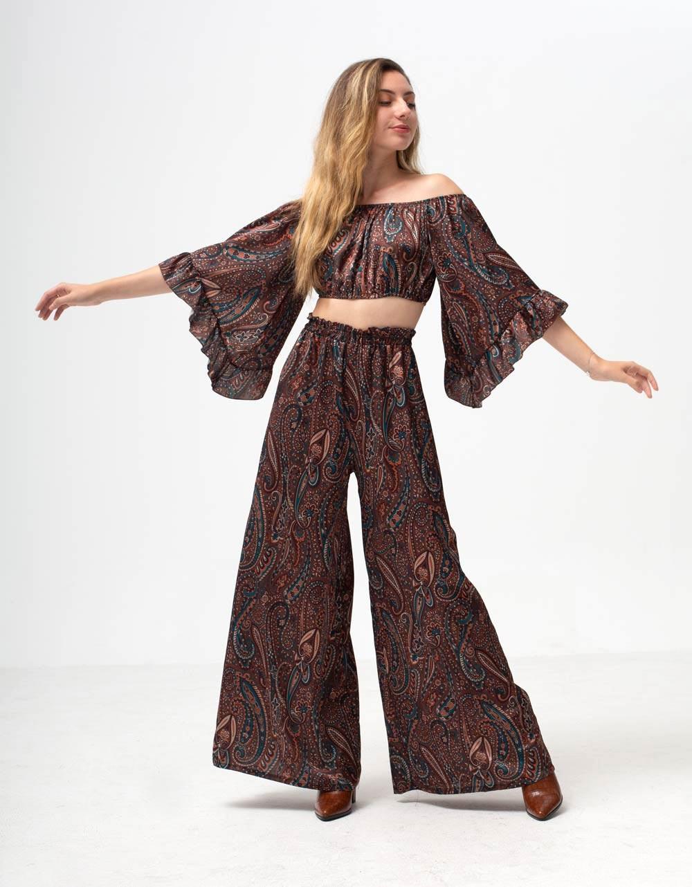 Εικόνα από Γυναικείο παντελόνι καμπάνα με σχέδια Καφέ