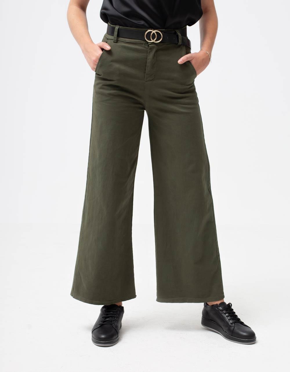 Εικόνα από Γυναικείο παντελόνι ψηλόμεσο καμπάνα Χακί