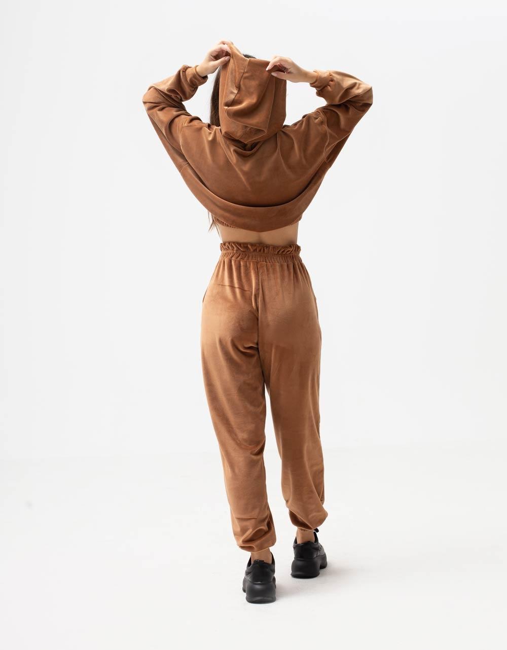 Εικόνα από Γυναικείο παντελόνι βελουτέ με λάστιχο Ταμπά