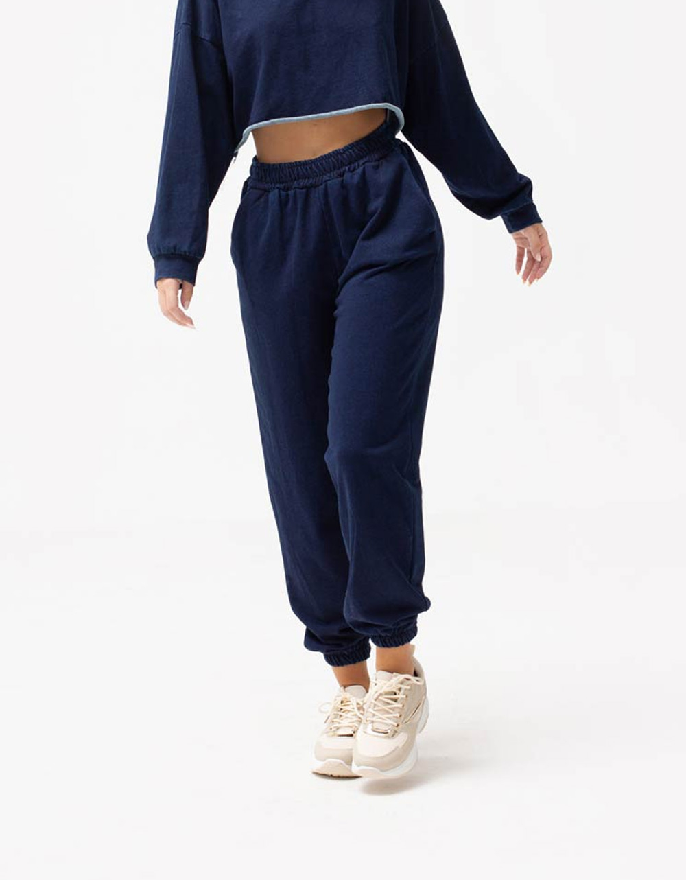 Εικόνα από Γυναικείο παντελόνι με λάστιχο Navy