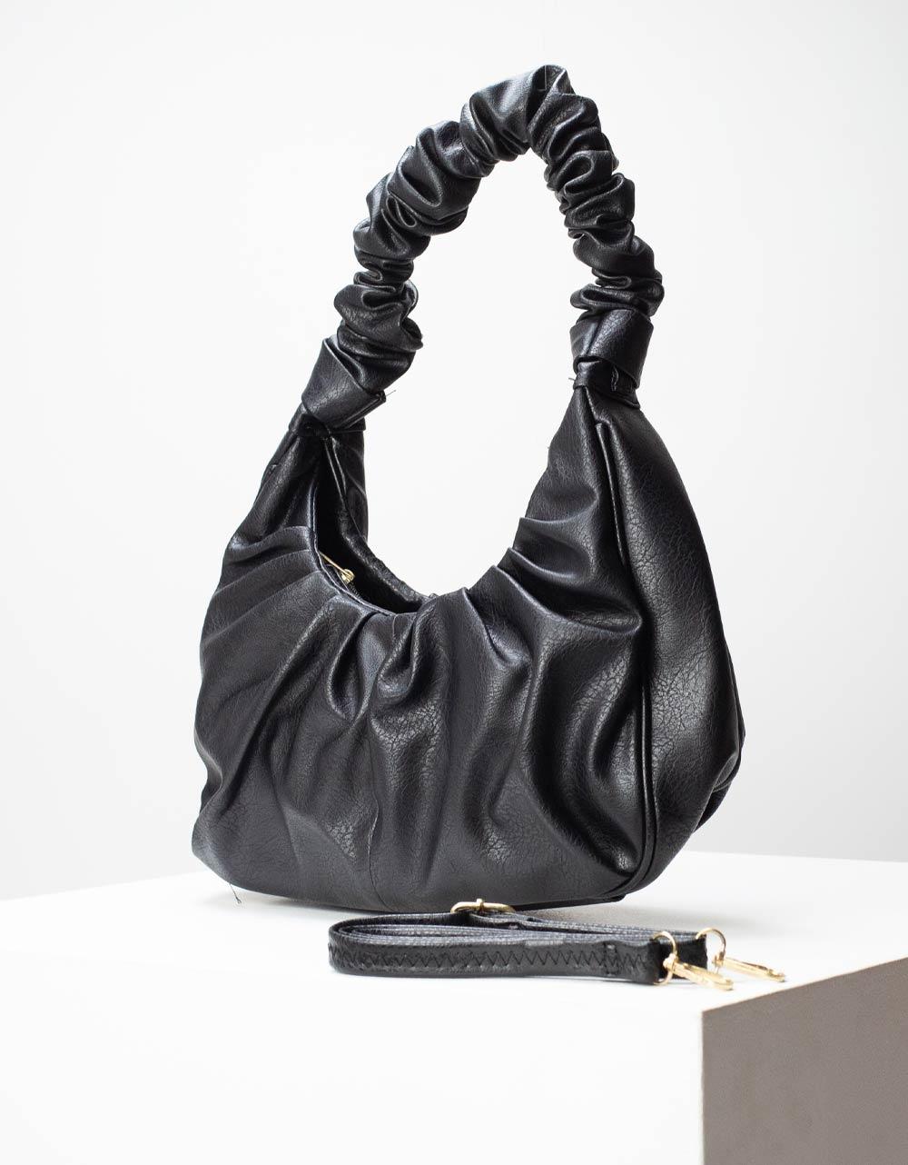Εικόνα από Γυναικείες τσάντες χειρός με σούρες στο χερούλι Μαύρο