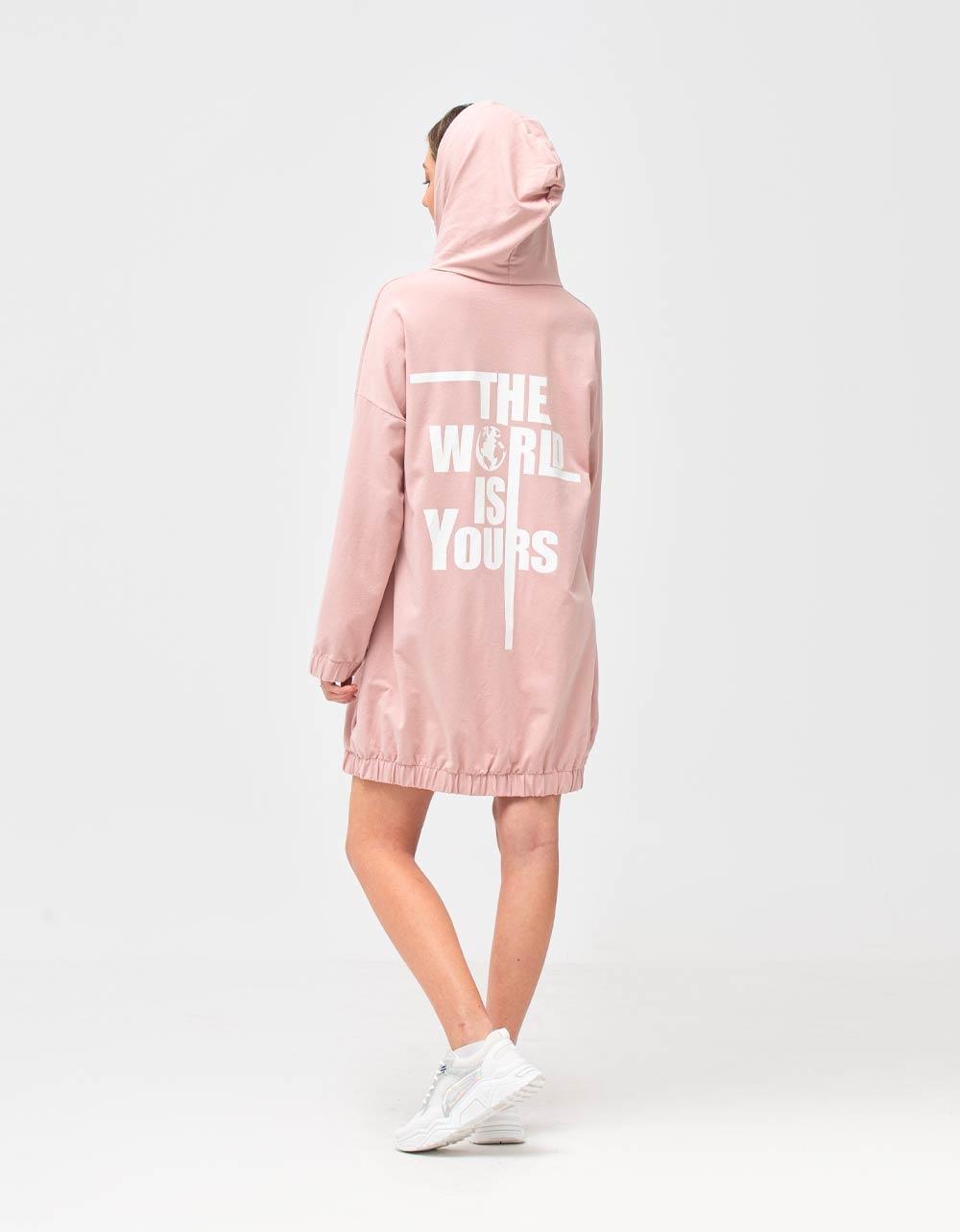 Εικόνα από Γυναικεία φούτερ ζακέτα μακριά Ροζ