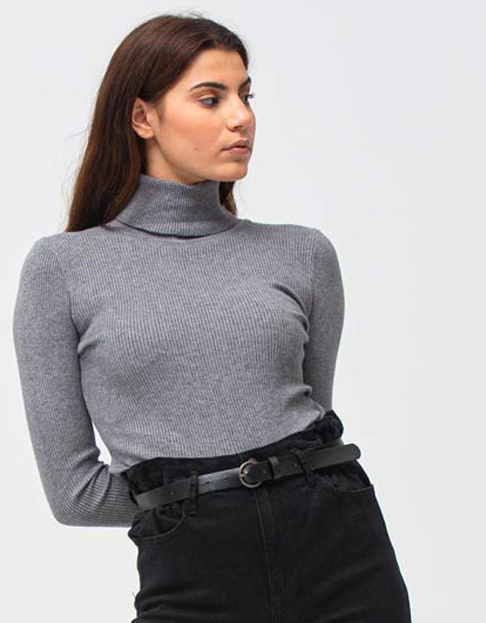 Εικόνα από Γυναικεία μπλούζα ζιβάγκο Γκρι