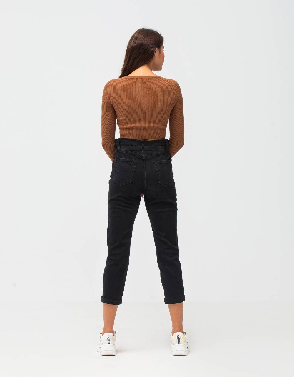 Εικόνα από Γυναικεία μπλούζα crop top ριπ Καφέ