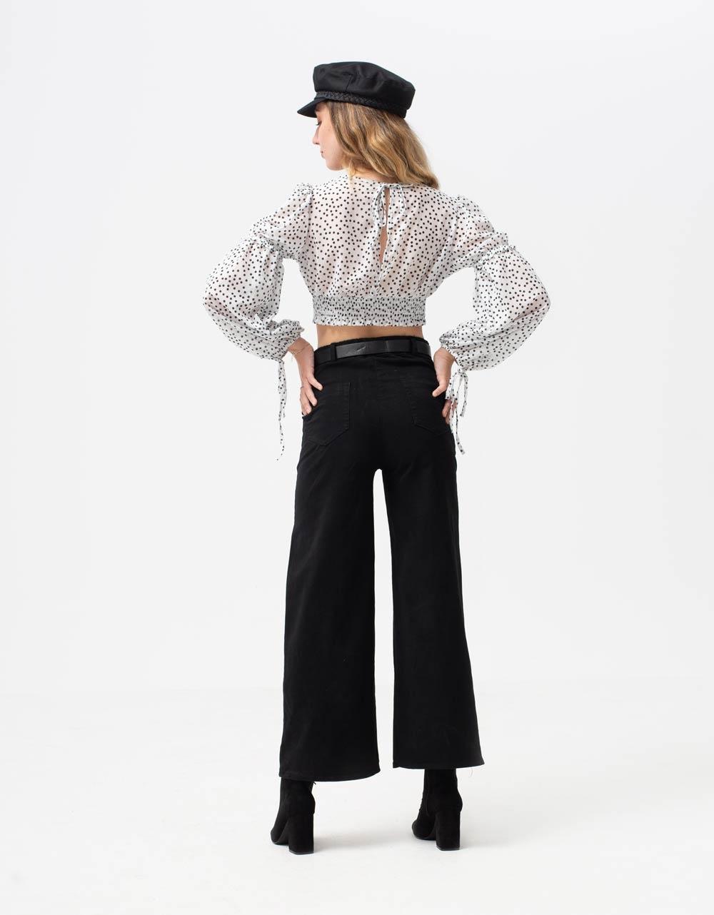 Εικόνα από Γυναικεία μπλούζα crop top με φαρδιά μανίκια Λευκό