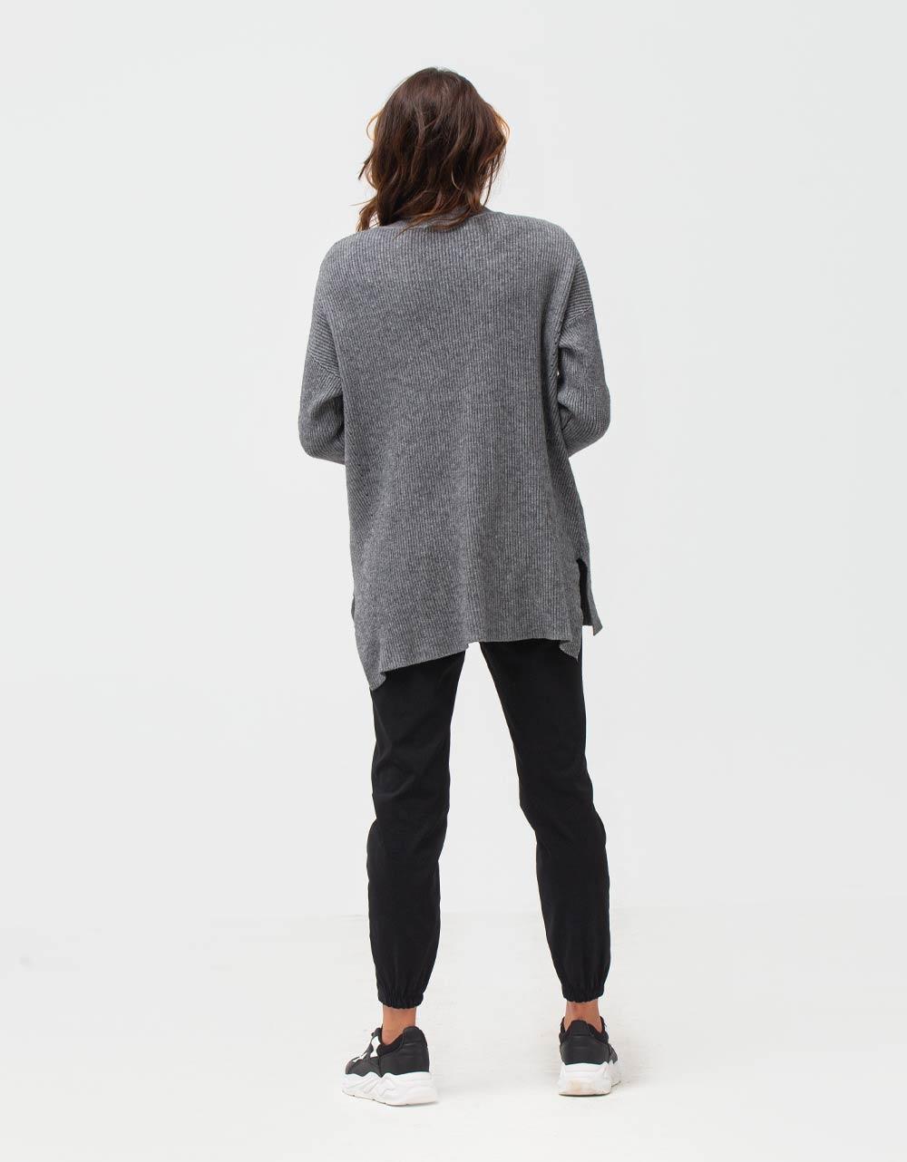 Εικόνα από Γυναικεία μπλούζα μακριά σε ασύμμετρο σχέδιο Γκρι