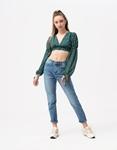 Εικόνα από Γυναικεία μπλούζα crop top με φαρδιά μανίκια Πράσινο