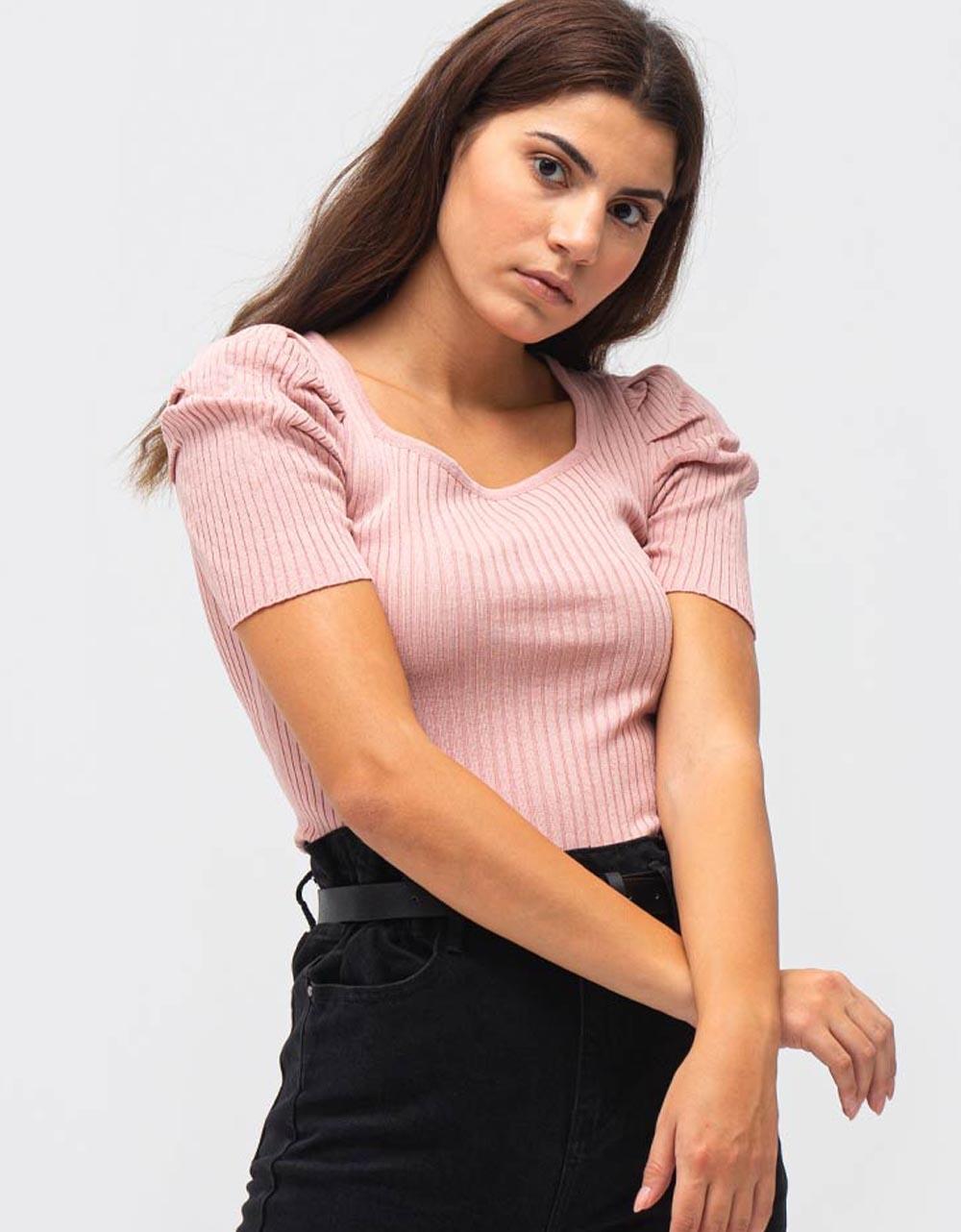 Εικόνα από Γυναικεία μπλούζα με Balloon μανίκια Ροζ