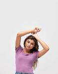 Εικόνα από Γυναικεία μπλούζα με Balloon μανίκια Μωβ