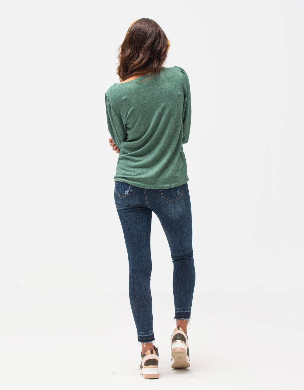 Εικόνα από Γυναικεία μπλούζα με φαρδιά μανίκια Πράσινο