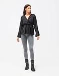 Εικόνα από Γυναικεία μπλούζα σατέν με δέσιμο Μαύρο
