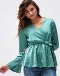 Εικόνα από Γυναικεία μπλούζα σατέν με δέσιμο Βεραμάν