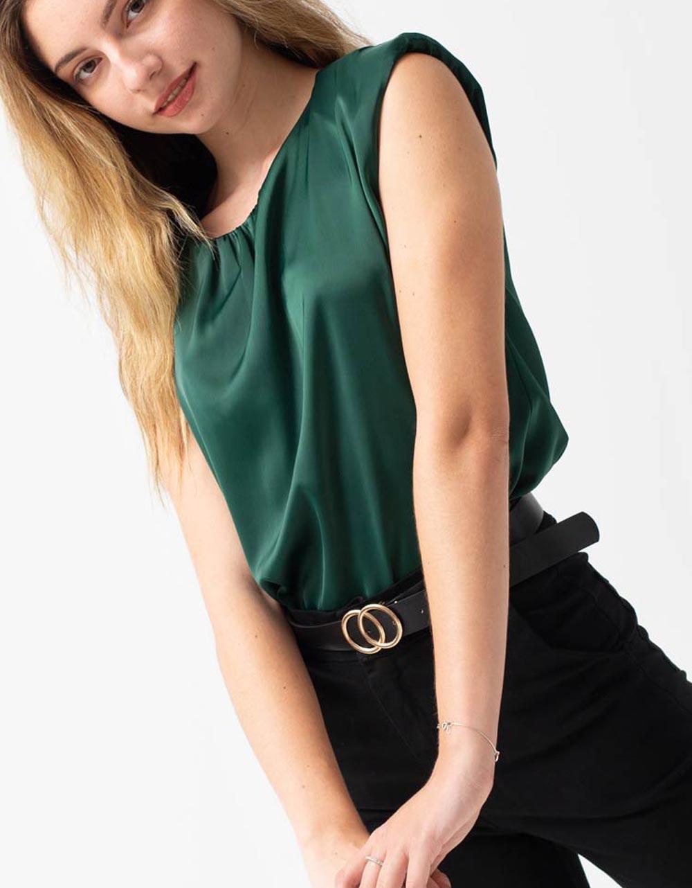 Εικόνα από Γυναικεία μπλούζα σατέν με βάτες Πράσινο