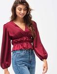 Εικόνα από Γυναικεία μπλούζα σατέν με σούρες Μπορντώ