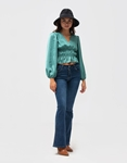 Εικόνα από Γυναικεία μπλούζα σατέν με σούρες Βεραμάν