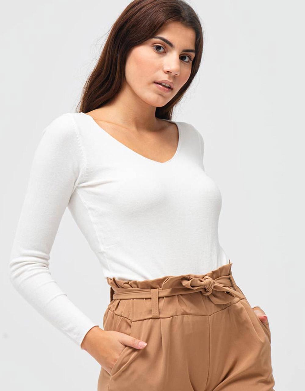 Εικόνα από Γυναικεία μπλούζα σε απλή γραμμή Λευκό