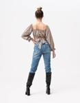 Εικόνα από Γυναικεία μπλούζα τοπ με δέσιμο Μπεζ
