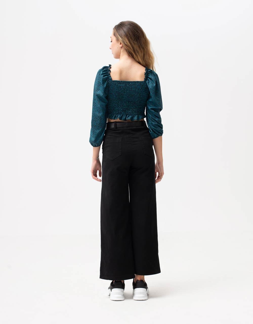 Εικόνα από Γυναικεία μπλούζα τοπ με σούρες Μπλε