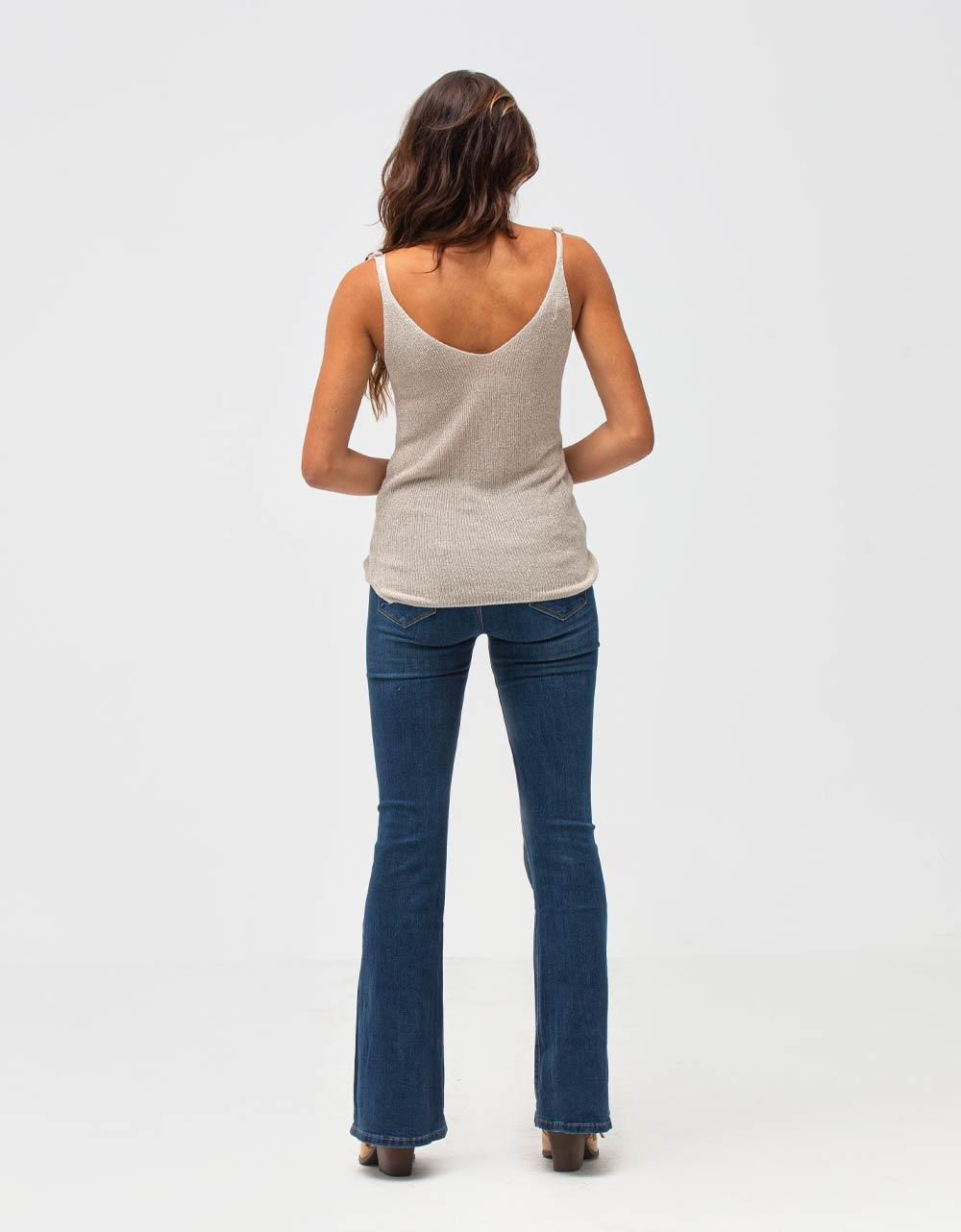 Εικόνα από Γυναικεία μπλούζα τοπ τιραντάκι lurex Μπεζ