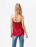 Εικόνα από Γυναικεία μπλούζα τοπ τιραντάκι σατεν με αλυσίδα Μπορντώ