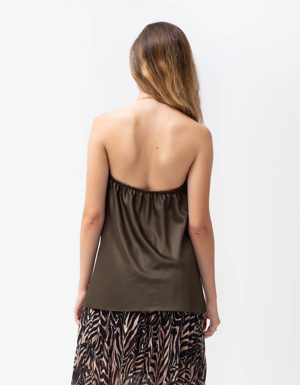 Εικόνα από Γυναικεία μπλούζα τοπ τιραντάκι σατεν με αλυσίδα Πράσινο