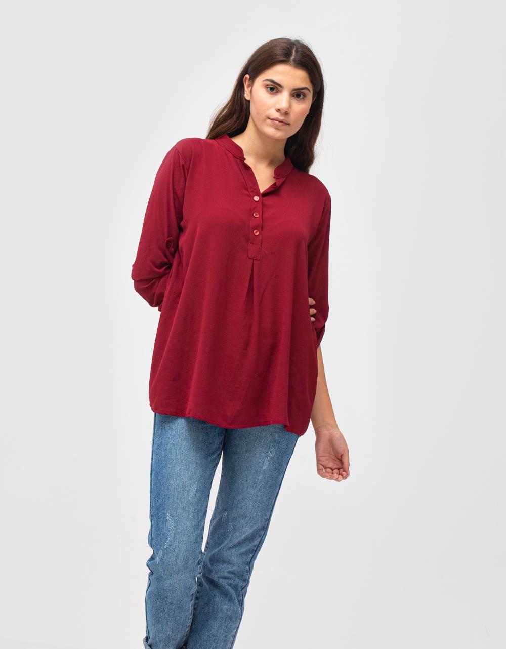 Εικόνα από Γυναικείο πουκάμισο ασύμμετρο Μπορντώ