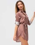 Εικόνα από Γυναικείο πουκάμισο φόρεμα με ζωνάκι και σχέδια Καφέ