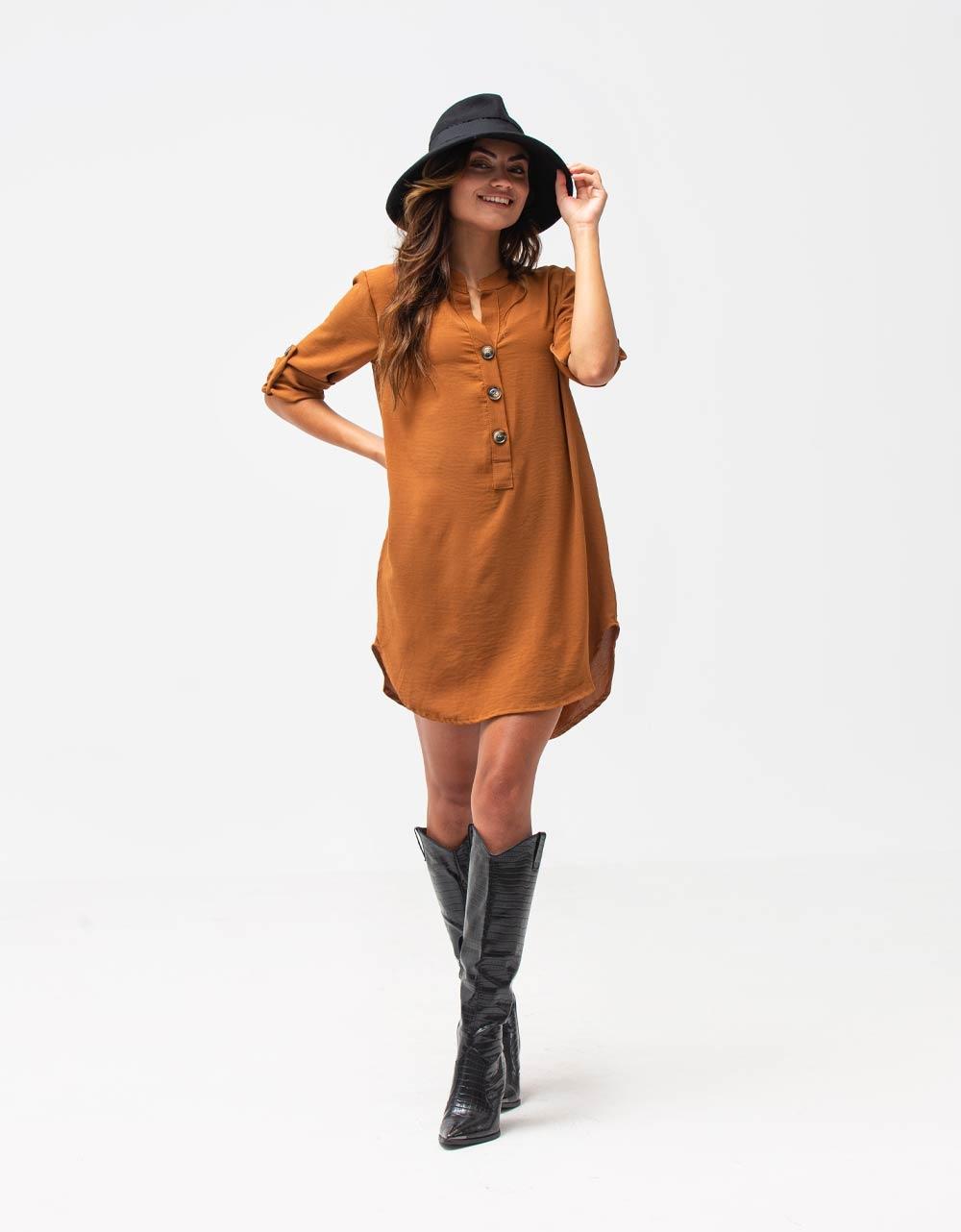 Εικόνα από Γυναικείο πουκάμισο φόρεμα με κουμπιά Καφέ