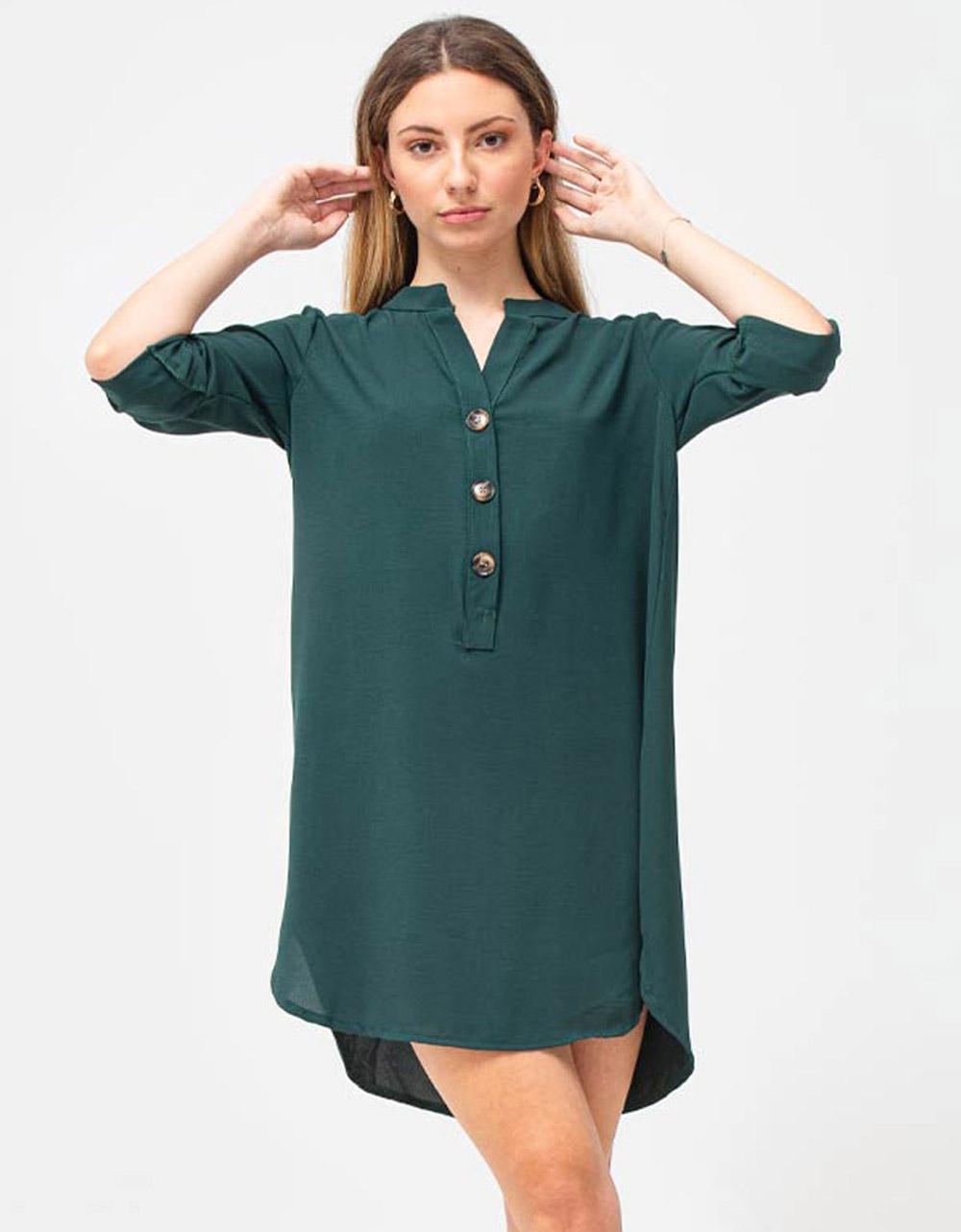 Εικόνα από Γυναικείο πουκάμισο φόρεμα με κουμπιά Πράσινο