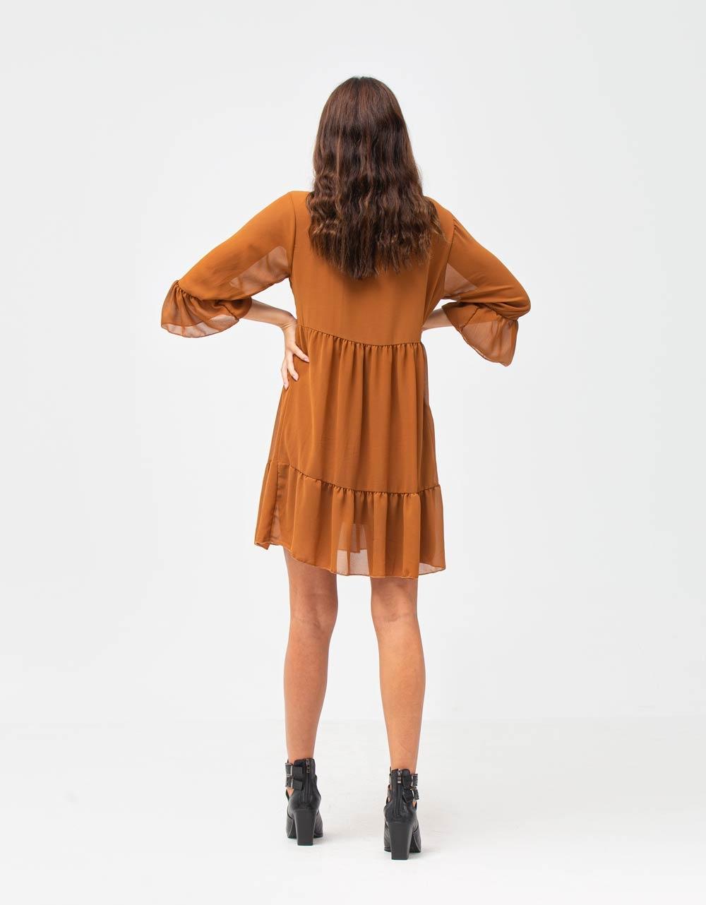 Εικόνα από Γυναικείο φόρεμα αέρινο με βολάν Καφέ